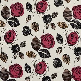 U0370B Rose and Black Roses Layered Microfiber Velvet on Cotton Upholstery Fabric