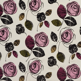 U0370C Pink/ Green and Black Roses Layered Microfiber Velvet on Cotton Upholstery Fabric