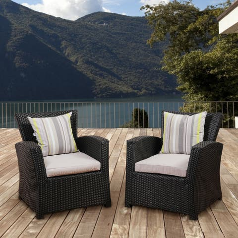 Atlantic Glacier Black Synthetic Wicker Seating Armchair Set with Light Grey Cushions (Set of 2)