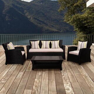 Atlantic Glacier 4-piece Black Synthetic Wicker Seating Set with Light Grey Cushions