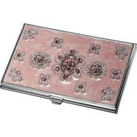 Visol Reika Light Pink Marble and Pink Crystals Business Card Case