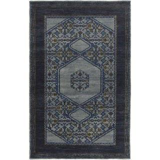 Hand-Knotted Marvin Border Wool Rug (2' x 3')