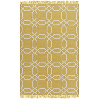 Hand-Woven Tiffany Geometric PET Indoor/ Outdoor Area Rug (9 x 13 - Yellow)