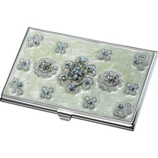 Carmela Light Green Marble and Blue Crystals Business Card Case