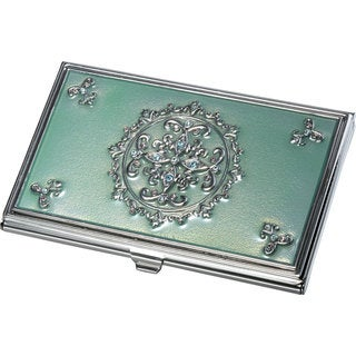 Visol Ivy Light Green With Embedded Crystals Business Card Case