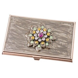 Visol Lotus Crystals and Lacquer Copper Women's Business Card Case