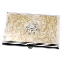 Visol Bloom Taupe Lacquer with Flower Crystals Women's Business Card Case