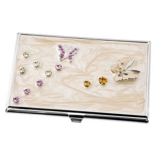Visol Ellie Butterfly with Crystals Embedded Women's Business Card Case