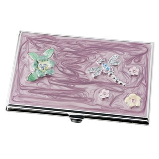 Visol Dragonfly Crystals and Lacquer Women's Business Card Case