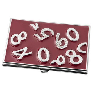 Visol Digits Crystals and Burgundy Lacquer Women's Business Card Case