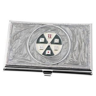 Visol Mahjong Grey Marble Lacquer Women's Business Card Case