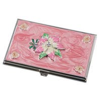 Visol Tanisha Pink Flower with Crystals Women's Business Card Case