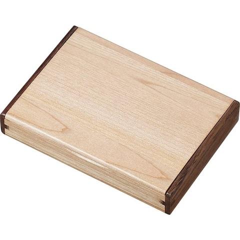 Visol Arolla Natural Maple Wood and Rosewood Desktop Business Card Case