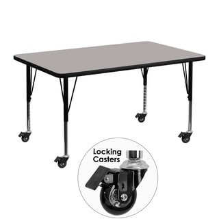 17.5-25.5-Inch Adjustable Legs Laminate/ Steel Mobile Preschool Activity Table