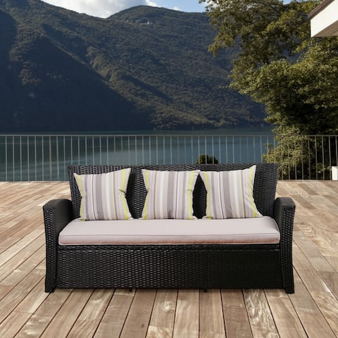Atlantic Glacier Black Synthetic Wicker 3 Seater Sofa With Light Grey Cushions