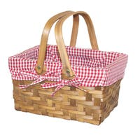 Small Rectangular Basket with Gingham Lining