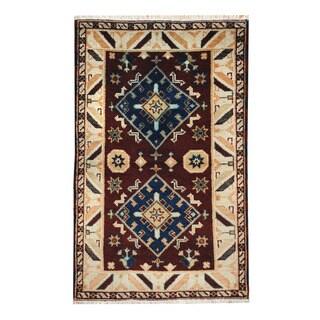 Handmade One-of-a-Kind Kazak Wool Rug (India) - 3'1 x 4'11