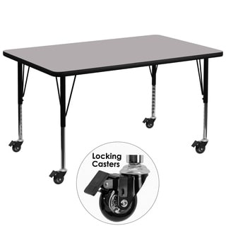 17.37-25.37-Inch Height-adjustable Steel/ Chrome Mobile Preschool Activity Table