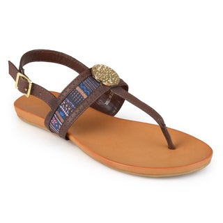 Journee Collection Women's 'Fleur' Sling-back T-strap Sandals