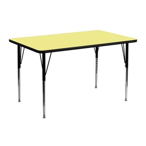 "24""W x 48""L Rectangular Thermal Laminate Activity Table w/ Adjustable Legs"