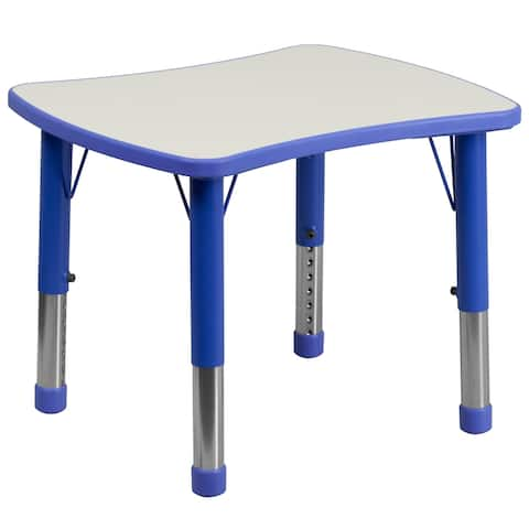 """21.875""""W x 26.625""""L Rectangular Plastic Activity Table with Grey Top"""
