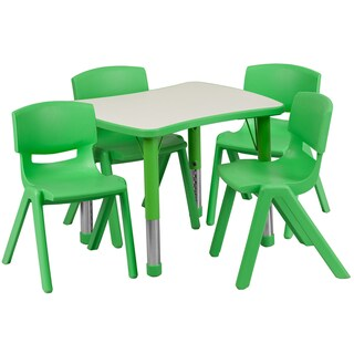 Height-adjustable Plastic Preschool Activity Table Set (Option: Green, Grey)