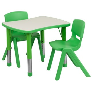 14.5-23.5-Inch Height-adjustable Rectangular Plastic Preschool Activity Table Set (3 options available)