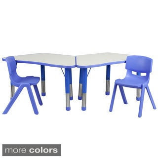 14.5-23.5-Inch Height-adjustable Plastic Preschool Activity Table With Chairs