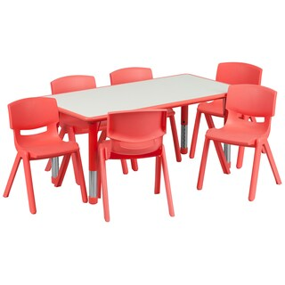14.5-23.5-Inch Height-adjustable Plastic Preschool Table Set (3 options available)