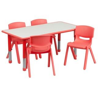14.5-23.5-Inch Height-adjustable Plastic Pre-school Activity Table Set