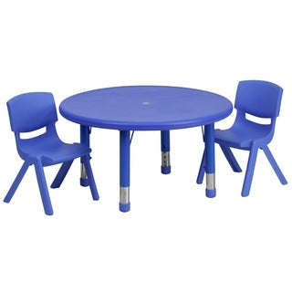 33-inch Height-adjustable Plastic Preschool Activity Table Set