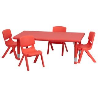 Height-adjustable Plastic and Steel Preschool Activity Table Set