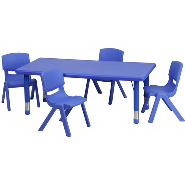 Height Adjustable Plastic And Steel Preschool Activity Table Set