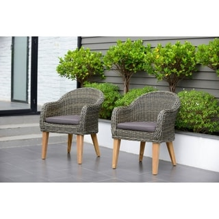 Amazonia Teak Sumay Wicker/Teak Patio Armchair Set with Brown Cushions (Set of 2)