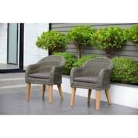 Amazonia Teak Sumay Wicker/Teak Patio Armchair Set with Brown Cushions (Set of 2)
