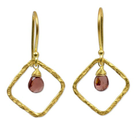Gold Overlay Swinging Rhombus Garnet Earrings (Thailand)
