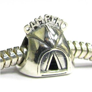 Queenberry Sterling Silver Camping Tent Travel European Bead Charm