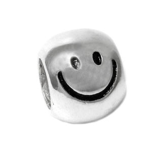 Queenberry Sterling Silver Smiley Happy Face / Big Smile Head European Bead Charm
