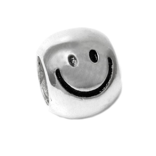 Queenberry Sterling Silver Happy Face European Bead Charm 6xFX2eC