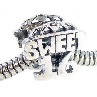 Queenberry Sterling Silver Sweet 16 Birthday Bead Charm