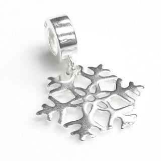 Queenberry Sterling Silver Snowflake Dangle European Bead Charm