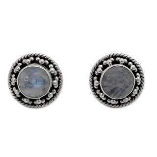 Handmade Sterling Silver 'Lavish Moons' Rainbow Moonstone Earrings (India)