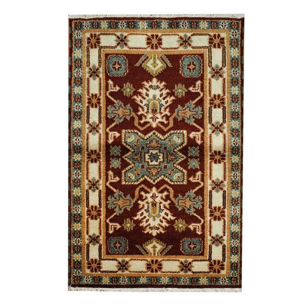 Herat Oriental Indo Hand-knotted Tribal Kazak Wool Rug (3'2 x 4'10)