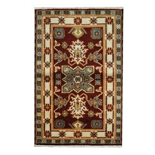 Herat Oriental Indo Hand-knotted Tribal Kazak Rust/ Beige Wool Rug (3'2 x 4'10)