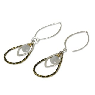 Gold Overlay 'Cordial Teardrop' Rainbow Moonstone Earrings (Thailand)