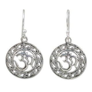 Handcrafted Sterling Silver 'Celtic Om' Earrings (Thailand)