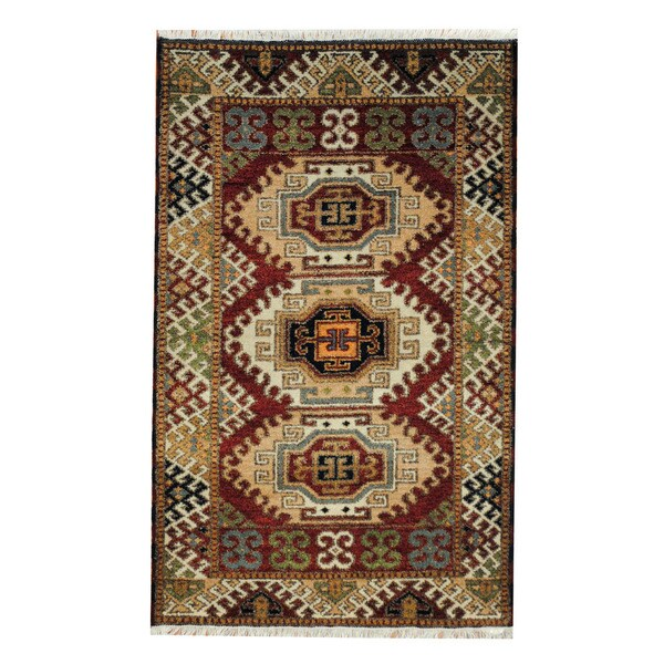 Handmade One-of-a-Kind Kazak Wool Rug (India) - 3'2 x 5'