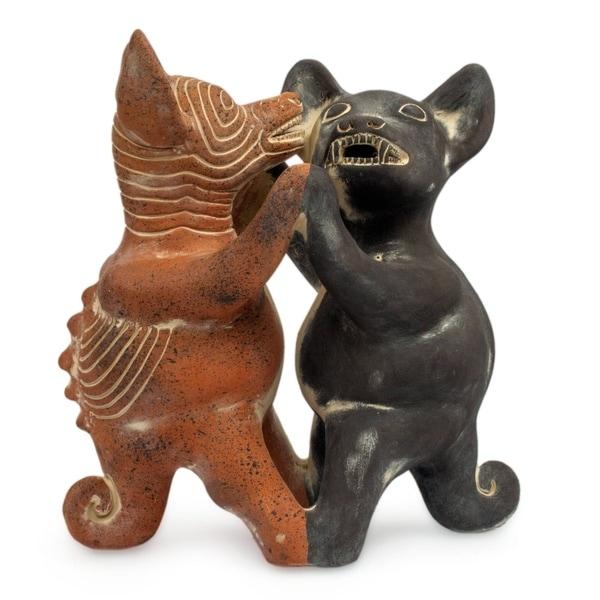 Handmade Ceramic Dancing Colima Dogs Sculpture (Mexico)