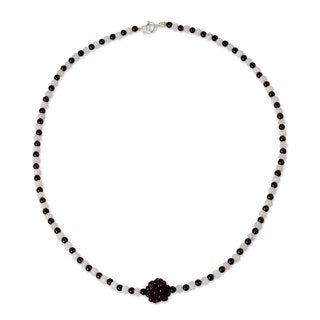 Stainless Steel 'Lunar Sun' Garnet Moonstone Necklace (Thailand)