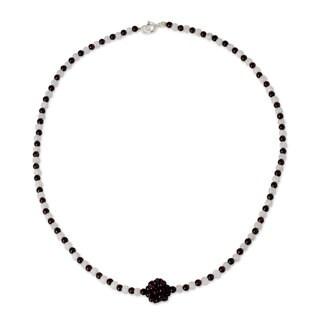 Handmade Stainless Steel 'Lunar Sun' Garnet Moonstone Necklace (Thailand)